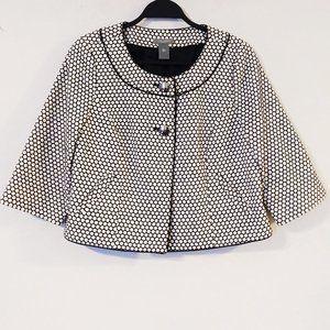 Ann Taylor Crop Jacket Black & White